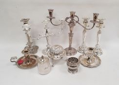 Silver plated three-branch candelabra, a large silver plated chamberstick and various other items