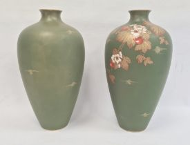 Pair Victorian Aesthetic movement earthenware vases, each of tall ovoid form, painted with