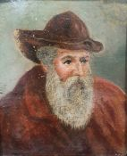 Late 19th/ early 20th century Oil on card 'Leonardo Di Vinci' Marked to reverse by Thomas Barker