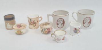 Collection of English and continental porcelain miniature mugscomprising a pair of Ginori mugs