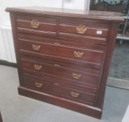 Late 19th/early 20th century mahogany chestof two short over three long drawers, on plinth base,