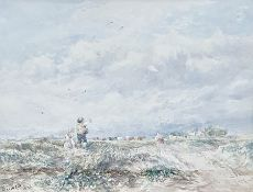 19th century (British school) Watercolour drawing Children in a windy landscape with cows in