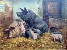 William Weekes (1856-1909) Oil on canvas Pigs and piglets in barn, signed lower right 'W. Weekes' 35