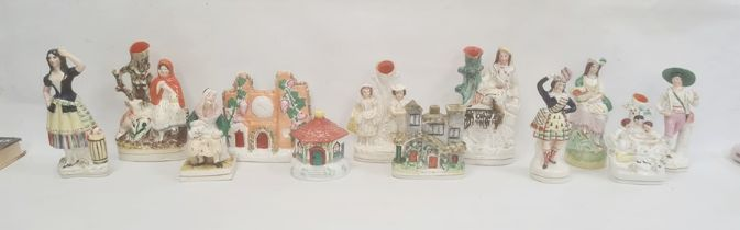 Collection of Staffordshire pottery figures and groups, late 19th century, including two pastille