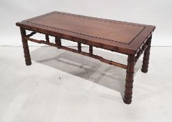 20th century Chinese hardwood rectangular coffee tableon bamboo-effect turned supports, 115cm x