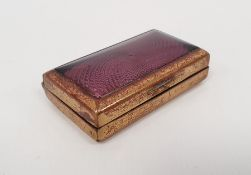 A brass lacquered and purple guilloche enamel cachou box, 4.7cm x 3cmCondition ReportThere are