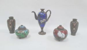 Group of five Chinese cloisonne vessels, 19th century, including a vase teapot in blue, 16cm high, a