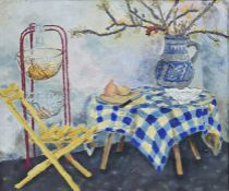 R Lawes (20th century) Oil on board Still life with chair and table, depicting a jug and fruit,