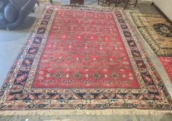 Eastern rug allover decoration in stepped border, 372cm x 273cm