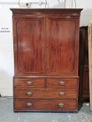 19th century converted mahogany linen press, the moulded cornice above two cupboard doors