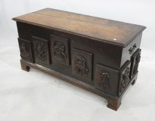 19th century camphorwood chestof plain rectangular form, the front decorated with five applied