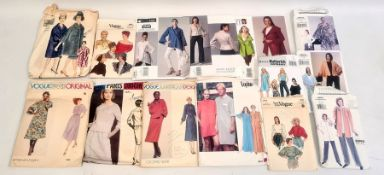 Quantity of Vogue, Butterick and other dress patterns, 1960's and later and a pair Watts patent