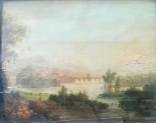 Continental school (19th century) Oil on board Pastoral scene, unsigned labelled indistinctly to