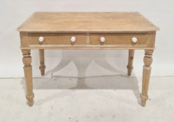 Victorian washstand in pine with two drawers, on turned legs and peg feet, 107cm x 70cm Condition