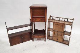 20th century oak workboxand two hanging shelving units(3)