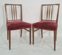 Set of four boardroom chairswith pink upholstered seats (4)