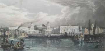 """Frederick Havel after William Havel (1780-1857) Coloured engraving """"Greenwich"""", 22cm x 43cm"""