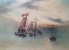 "Garman Morris (act 1900-1930) Watercolour drawing ""On...e Scheldt"", moored fishing boats at dusk"