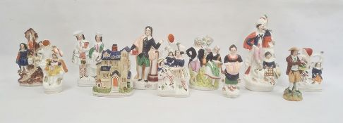 Late 19th century collection of eleven Staffordshire figures and groups, including a pastille burner