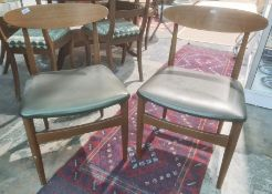 Set of five mid-century designer boardroom chairs with shaped back rest in vinyl seats