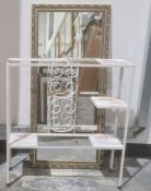 Rectangular mirrorin gilt-effect frame and a white painted metal and tiled plant stand(2)