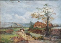 19th/20th century school Oil on canvas Cottage with figures on a path, unsigned,24.5cm x 34.5cm