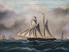Richard B. Spencer (British, d.1874) Oil on canvas Clipper ship with lighthouse, signed lower left