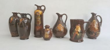 "A collection of seven Royal Doulton wares comprising a Kingsware ""Watchman"" tall jug, 27cm high, a"