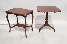 19th century mahogany snap-top table, the rectangular top with rounded corners, on turned pedestal