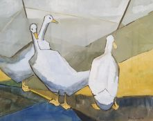 Madge Bright (20th century) Gouache Three geese, signed lower right and dated '86,38cm x 47.5cm (