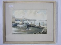 """Ronald Carter (20th century school) Watercolour drawing """"Bembridge Harbour"""", labelled to reverse,"""