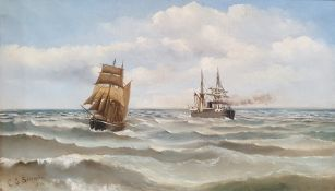 C.E.Benington (19th century) Oil on canvas Ships at sea Signed and dated lower left 1896 29.5cm x