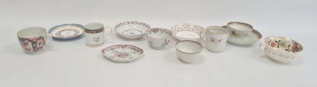 Collection of English porcelain teawares, circa 1780 and later, including a Newhall saucer painted