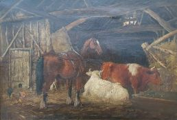 British School (19th century) Oil on canvas Farm barn with horse, cattle and chickens, signed