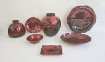 Collection of Royal Doulton flambe wareto include a ginger jar with cottages in river landscape,