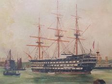 19th century school Oil on board Ships in harbour, marked to reverse signed T. Moss, dated 1887