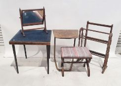Dressing table mirror, a card table, a further table, two towel racksand a low stool(6)