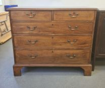 19th century mahogany chest of two short over three long drawers, the rectangular top with applied