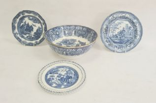 Collection of Staffordshire pearlware, early 19th century, comprising a chinoiserie pavilion pattern