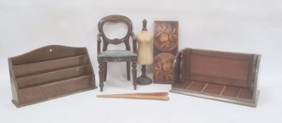 Various wooden items to include stationery stands, miniature dining chair, mannekin etc