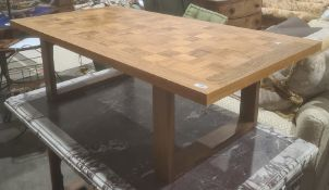 Mid-century Cado Danish coffee table, rectangular, chequer inlay of various woods, the top 130 x