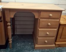 20th century pine dressing table, the rectangular top above four drawers, on plinth base to the