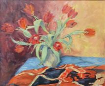 Aileen M Laming (20th century) Oil on canvas 'Tulips' Signed lower left 50cm x 60.5cm