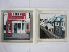 """Camilla Dowse Acrylic """"Red phone box, Oxford"""", and a Brighton Street Scene, a pair, one labelled to"""