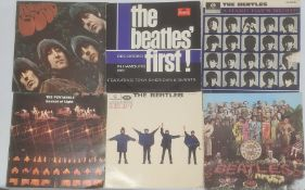 Assorted records to include; The Beatles 'Rubber Soul' (mono) 'Help!' (mono) 'First!' 'With the