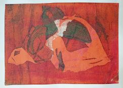 Folio of unframed prints, some watercolours, including etching, various aquatints, abstract wash