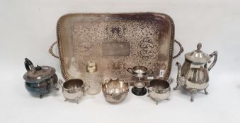 Plated three-piece teaset, a large silver plated two-handled tray of rectangular form with pierced
