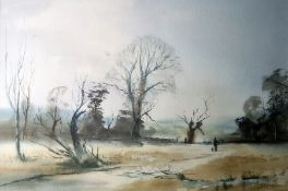 Ralph Leaper (20th century) Watercolour 'Forest Winter', signed lower left, label verso, 30.5 x 46.5