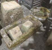 Assorted stonewareto include staddlestone base, plant trough and circular plant pot (3)