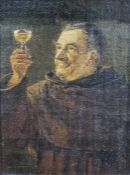 20th century school Oil on board A monk holding a glass of wine/mead Unsigned 23cmx 17cm